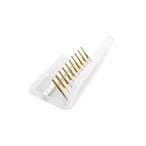 SHINA 10 Titanium Coat Carbide 1.5mm-3.175mm End Mill Engraving Bits CNC Rotary Burrs Set ST1.5-3.175mm-10Ti