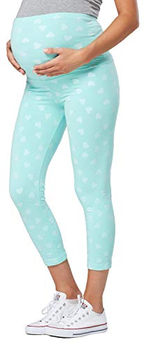 Happy Mama. Womens Maternity Pants. Available in 2 Leg Lengths. 581p (Medium Mint Hearts, US 10, 2XL)