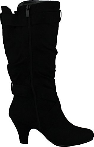 (CC Maggie-38 Women Knee High Kitty Heels Wide Shaft Boots,Black,6)