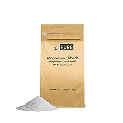 Magnesium Chloride (2 lb) by Pure Organic Ingredients, Eco-Friendly Packaging, Crystal Powder, Highest Quality, Oral Supplement, Food & USP Pharmaceutical Grade(Also in 4 oz, 1 lb, 4 lb)