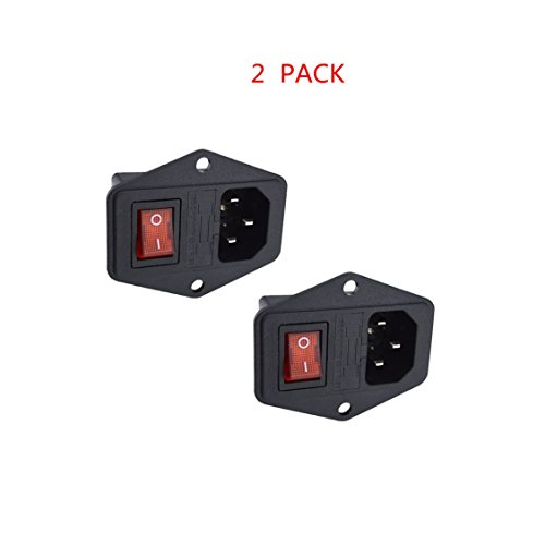 Huahuiyuan 2 Pcs 3 Pin IEC320 C14 Inlet Module Plug 5A Fuse Switch Male Power Socket 10A 250V for Lab Equipment, Medical Devices
