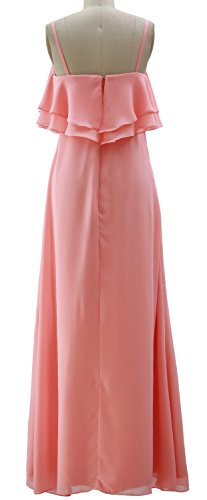 Gown Long Straps Spaghetti Bridesmaid Wedding Dress MACloth Party Dunkelgrun Formal Chiffon xwzOES5wq