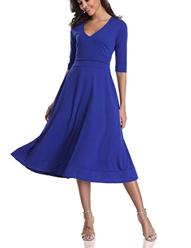 CHUNNA Womens Half Sleeve V-Neck High Waist Midi Dress with Pockets