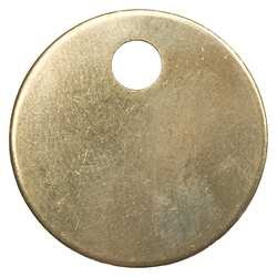 Industrial Grade 1-1/2'' Diameter 1F035 Tag, Blank, Brass, Pack 100
