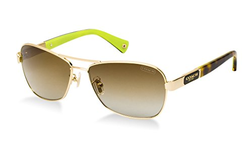 Coach Sunglasses - Caroline / Frame: Gold Lens: Brown - Mens Coach Sunglasses