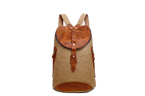 - Bagland Portable Canvas Man Boy Backpack Rucksack Travel Outdoor School Laptop Hiking Luggage Gym Satchel Bag Duffle - Brown