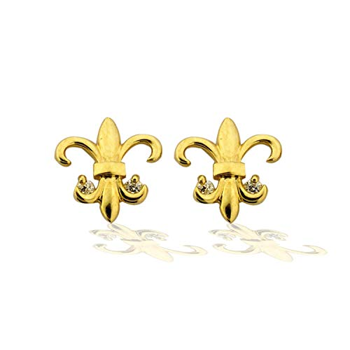 14K Yellow Gold Fleur-de-lis Simulated Diamond CZ Earrings