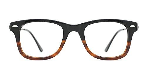 TIJN Mens 50s Wayfarer Dual-tone Optical Eyeglasses Frame Non-prescription Lenses