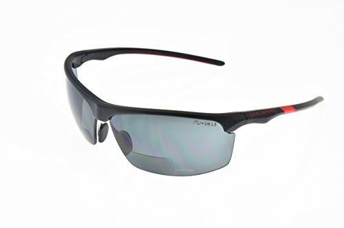 Optx 20/20 Eyedefend Outrigger Safety Sun Reader  Polycarbonate Polarized Bifocal Sun, Black/Red, +200, ANSI - Bifocal Amazon Sunglasses