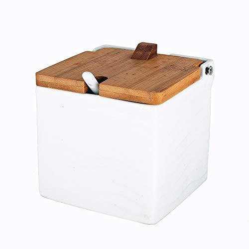 - Xena Modern Elegant Ceramic Spice Condiment Holder with Bamboo Flip Top Closure and Spoon, 4.5 x 4.5 x 4.5 Inch Chutney Jelly Sugar Powder Creamer