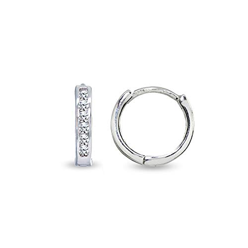 - Sterling Silver Tiny Small 13mm Channel-set Cubic Zirconia Round Huggie Hoop Earrings
