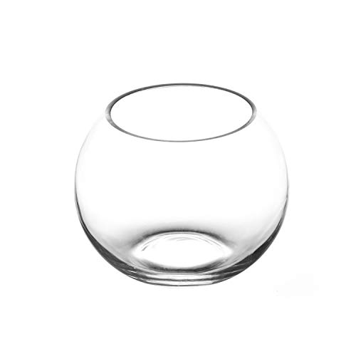 Royal Imports Flower Glass Vase Decorative Centerpiece for Home or Wedding Round Bubble Ball Shape, 4