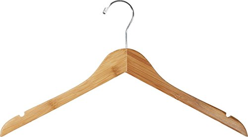 Dress Clothes Garment 17'' Top Hanger Notches Dark Bamboo Display Store Fixture Lot of 100 New by Bentley's Display