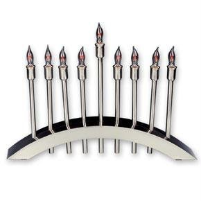 Judaica Kingdom AVJ-EMEN-1919 Candlesticks - Stainless Steel Electric menorah with flickering bulbs by Judaica Kingdom