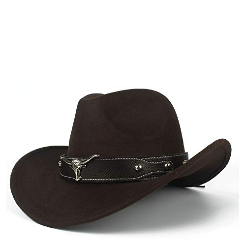 Fashion Western Cowboy Casual Hat Lady Equestrian Cap Comfortable Dakota Crushable Wool Felt, by jdon-hats, (Color : Brown, Size : 56-58cm) ()