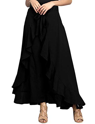 Jessica CC Women's Solid Ruffle Wide Leg High Waist Loose Palazzo Skirt Pants,Black,XX-Large