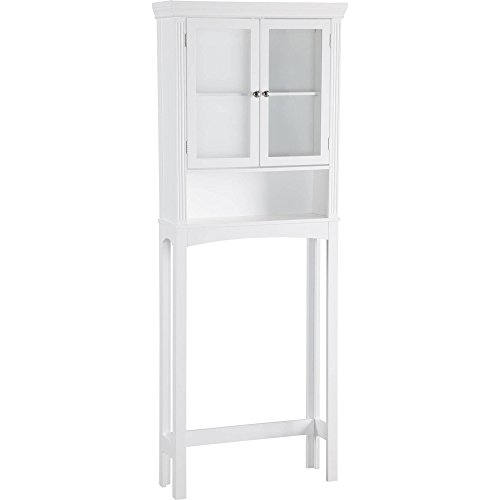 Alvin Space Saver Over the Toilet Storage Cabinet in White Finish 25.00L x 8.00W x 66.00H in. by Elegant Home Fashions