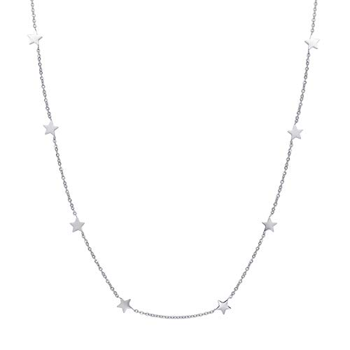 Happiness Boutique Star Necklace in Silver Color | Delicate Choker Necklace Star Pendants Stainless Steel Jewelry