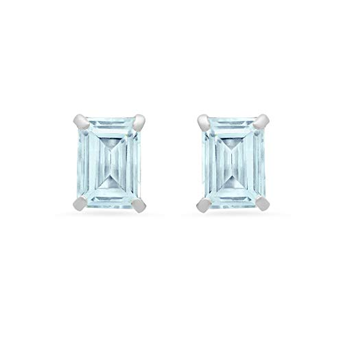14k White or Yellow Gold Solitaire Emerald-Cut Aquamarine Stud Earrings (7x5mm)