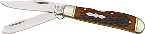 Mini Trapper Knife with Amber Jigged Bone Handles