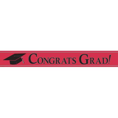 Congrats Grad Red Foil Banner | Graduation Party Mortarboard Decorations]()