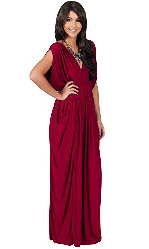 KOH KOH Plus Size Womens Long V-Neck Summer Grecian Greek Bridesmaid Wedding Party Guest Flowy Formal Evening Slimming Vintage Maternity Gown Gowns Maxi Dress Dresses, Crimson Dark Red XL 14-16