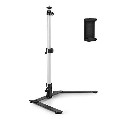 UTEBIT Photo Copy Stand with Phone Clamp Table Top Camera Macro Monopod Stand with 360 Degree Swivel Ball Head Mount Compatiable for DSLR Video Photography Cellphone