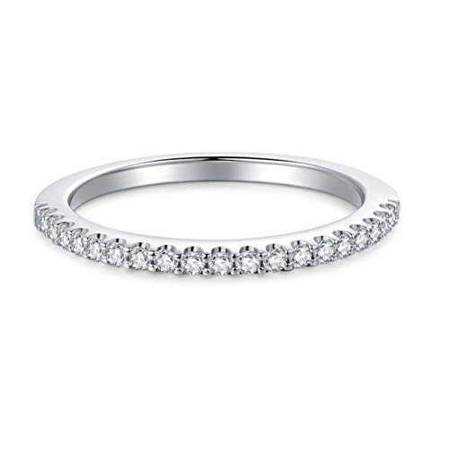 Hafeez Center 1.5mm Rhodium Plated Sterling Silver Simulated Diamond Cubic Zirconia CZ Petite Half Eternity Wedding Ring, 1/5 cttw