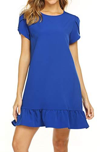 Naggoo Women Casual Round Neck Short Sleeve A-Line Tunic Loose Shirt Dress Blue Medium ()