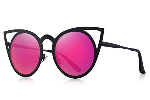 MERRY'S Cat Eye Sunglasses Round Metal Cut-Out Flash Mirror Lens Metal Frame Sun glasses S8064 (Red, ()