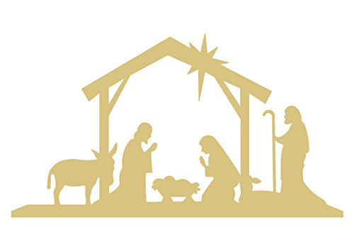 """10""""x 5.5"""" Nativity Scene Cutout Unfinished Wood Holiday Cut Out Christmas Door Hanger MDF Shape Canvas Style 1"""