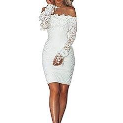 Toimothcn Women White Lace Dress Slash Neck Off Shoulder Cocktail Party Elegant Dress Bodycon Prom Gown White S