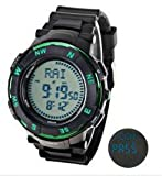 Multi-functional Rubber Band Compass Military Sport Watches with LED Display For Outdoor Climbing 3ATM Waterproof World Time - Green