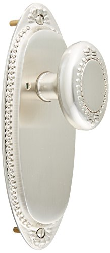 Lydian Door Set With Beaded Oval Knobs Privacy Satin Nickel. -