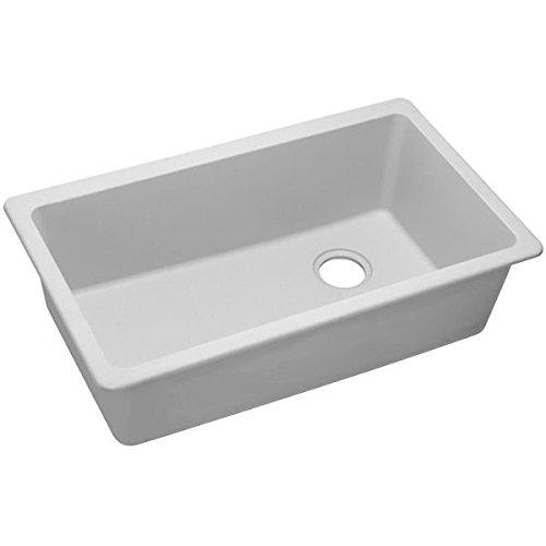 [Elkay Quartz Classic ELGU13322WH0 White Single Bowl Undermount Sink] (White Heat Single Bowl)