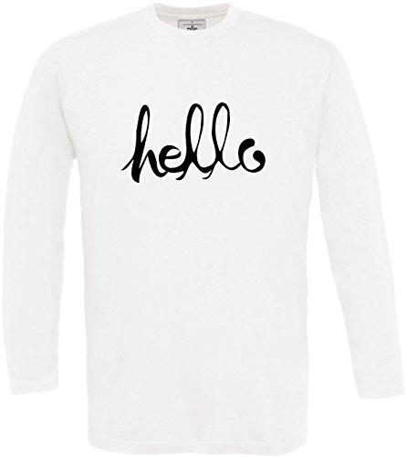 White Homme Disant Impression Cool nbsp;bonjour T Manches 3xl Hello S De Longues shirt À Concepteur gq1w6T