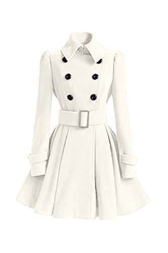Risvolto Risvolto Eleganti Petto A Classico Della Lunga Le Le Le Donne Doppio White Outwear Impermeabile Manica qTA1nxtw