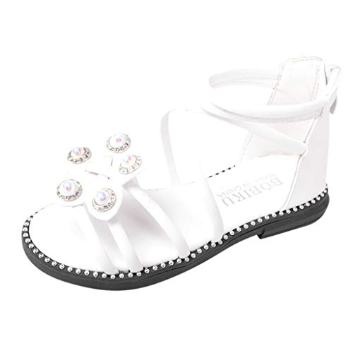 Respctful✿ler Girl Rhinestone Dress Sandals Open Toe Beach Sandals Princess Flats Sandals White (Espresso Mp3 Player)