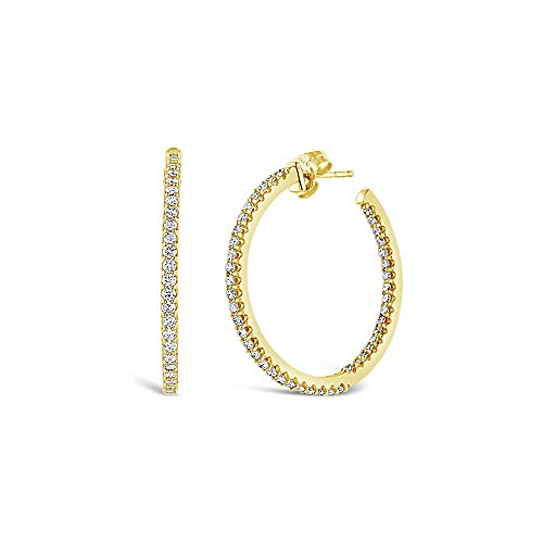 - Brilliant Expressions 14K Yellow Gold 1 Cttw Inside-Out Conflict Free Diamond Hoop Earrings (I-J Color, I2-I3 Clarity)