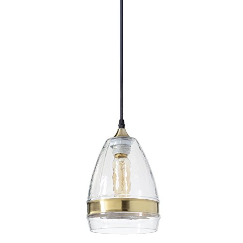 Casamotion Pendant Lighting Handblown Glass Drop Ceiling Lights, Industrial Hanging Bell Light with Brass Ring, Clear, 6''diam.10''h. ()