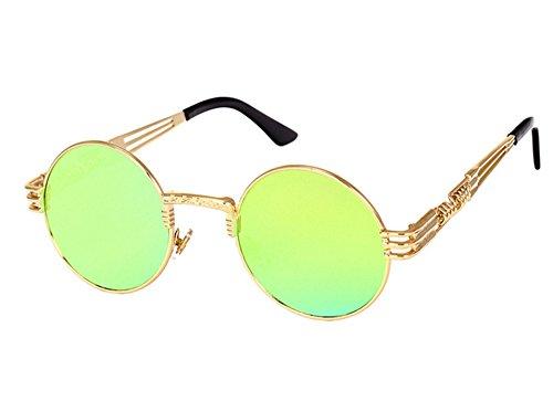 reflexivo sol Retro redondo UV400 colorido Oro punky personalidad gafas marco Oro Classic de fTwzIqBnf