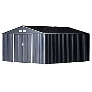 Outsunny Metal Shed 13x11 with Base Grey