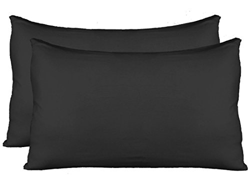 Stretch Jersey Pillow Cases with Invisible Zipper, Universal Size fit all King, Queen and Standard Size Pillows, Modal Rayon Spandex 180 Gram, Soft than Cotton, Pack of 2, Black
