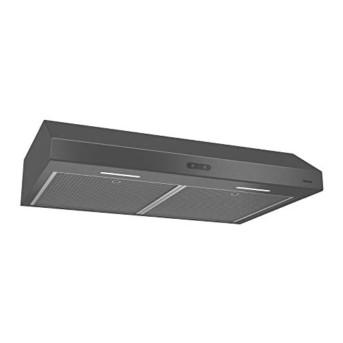 Black Stove - Broan Glacier Convertible Range Hood, Exhaust Fan and Light Combo for Over Kitchen Stove, Black Stainless Steel, 30
