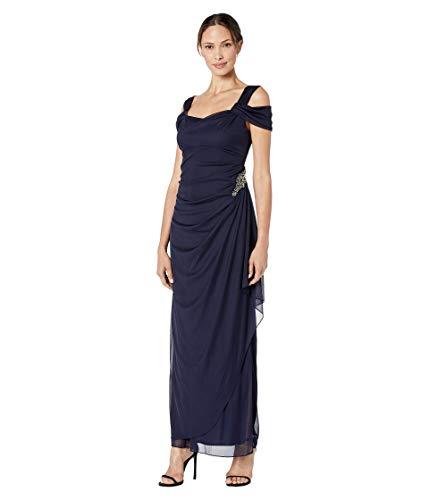 Alex Evenings Women's Long Cold Shoulder Dress (Petite and Regular Sizes), Navy Decal, 18
