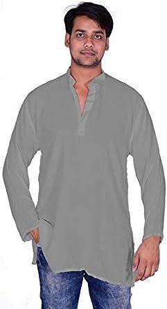 Lakkar Haveli Mens Indian Tunic Button Down Shirts Shirt Kurta Solid Cream Color 100/% Cotton Plus Size