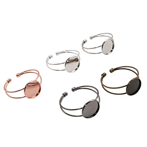 JETEHO 5 Pcs 5 Colors Bezel Tray Blank Bangles Fit 25mm/1Inch Round Cabochon, Brass Cuff Bracelet Blanks for Jewelry Making Adjustable