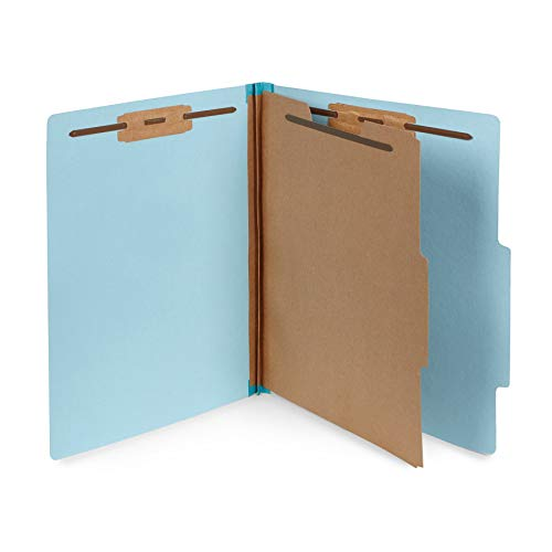 10 Blue Classification Folders- 1 Divider-2'' Tyvek expansions- Durable 2 Prongs Designed to Organize Standard Medical Files, Law Client Files, Office Reports- Letter Size, Blue, 10 ()