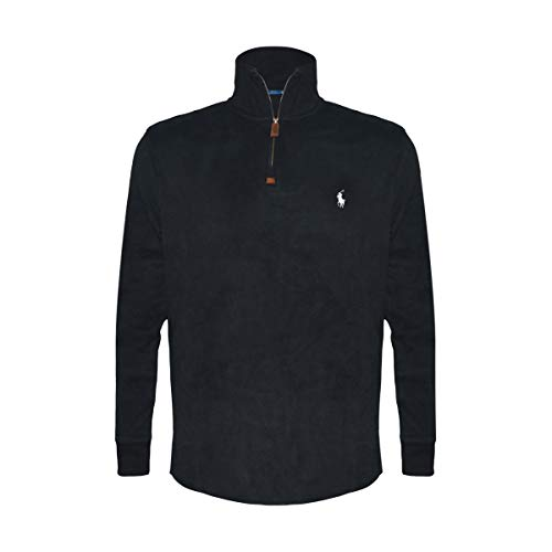 Polo Ralph Lauren Men's Half Zip French Rib Cotton Sweater (X-Large, Black/White Pony) by Polo Ralph Lauren