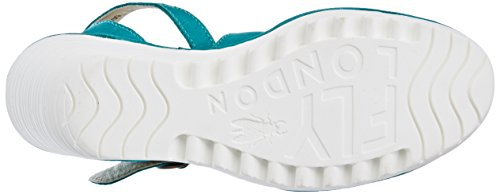 Fly London Yisk837fly, Sandales Bride Cheville Femme Vert (Verdigris White Sole)